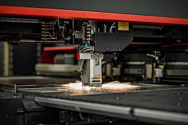 Amada ENSIS Laser In Action, fabricating at Dawson