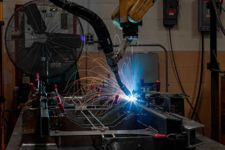 Auto welder at Dawson manufacturing facility