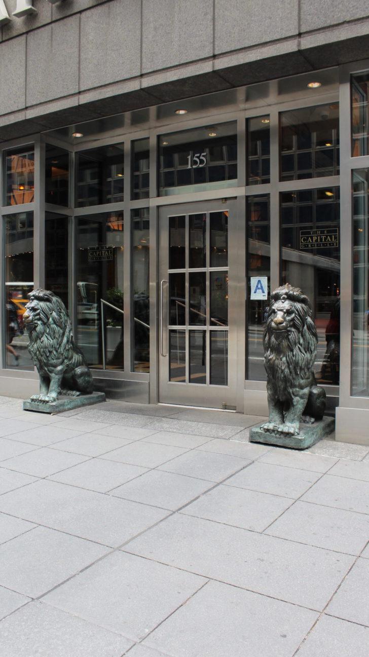 Laser cut metal door on Capital Grille in NYC