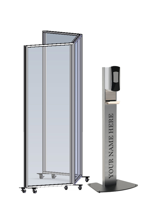 Protective Barrier and Sanitizer Stand