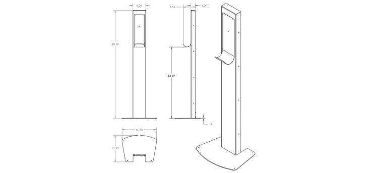 hand sanitizer stand dimensions